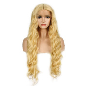 WigTech2017 200%Density Synthetic Lace Front Natural Wave 60cm 613# Colour Heat Resistant Fibre Wigs With Baby Hairs For All Skin Tones Women