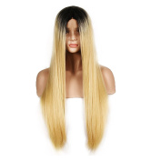 WigTech2017 200%Density Synthetic Lace Front Light Yaki Straight 60cm Black & Blonde Colour Heat Resistant Fibre Wigs With Baby Hairs For All Skin Tones Women