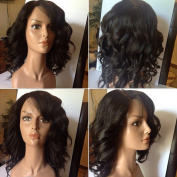 Short Bob Lace Front Wig Loose Wave Curly Full Lace Human Hair Wigs 130% Density Peruvian Virgin Hair Wigs with Baby Hair for Black Women Natural Colour