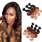 IUEENLY Ombre Brazilian Body Wave Virgin Hair 3 Bundles 100% Unprocessed Virgin Human Hair Extensions (100+/-5g)/pcs ( #1b/#4/#27)