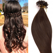 100 Strands 18 20 60cm Pre Bonded Keratin Nail U Tip Remy Human Hair Extensions Silky Straight (0.5g/s) 50g