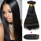 Straight Hair Bundles, Brazilian Virgin Human Hair/100% Unprocessed Human Hair 3 Bundles With a Free Part Lace Closure Natural Colour