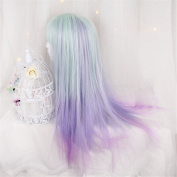 Long Ombre Blue T Purple Synthetic Kinky Curly Hairstyle Wigs For High Temperature Fibre