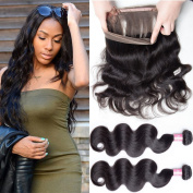 Unprocessed 8A Brazilian Virgin Hair Body Wave 2 Bundles With 360 Lace Frontal Pre Plucked With Baby Hair Natural Hairline and Adjustable 100% Human Hair 16 18 and 36cm