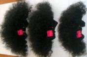 100% Human Hair, Super Soft Afro Weave. 3 Piece Set. Colour 1, Jet Black. Short afro 10cm , 13cm & 15cm length by JazzyBrand