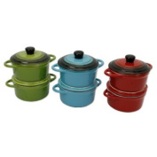 Proctor Silex Set of 2 Round Covered Ceramic Casserole Dishes 350mls Assorted Colours 09241