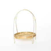 Round Shaped Bamboo Bread or Storage Curve with Stent Baskets and Drain Vegetable Beige Baskets, MrBambu