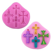 HUPLUE 4 Hole Cross Silicone Fondant Mould Cake Decorating Chocolate Baking Candy Sugar Mould for Christmas Festival