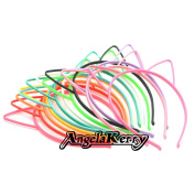 AngelaKerry 12pcs Mix Colour Cat Ear Plastic Headbands Hairbands Bow for Girl's Fashion Party DIY