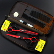 15cm Black and Red Colour Rotating Screw Barber Hairdressing Shears Set Diy Cutting Hair Tools At Home