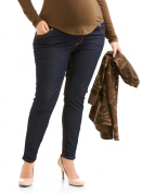 Oh! Mamma Maternity Full Panel Stretch Skinny Jeans with Contrast Stich Pockets - Available in Plus Sizes