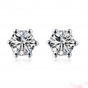 diamond solitaire earrings studs for women set in Platinum