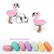 CuteCachoo - Mini macaron gift box included! Childrens pink flamingo ear studs. Quality sterling silver earrings for kids or adults.