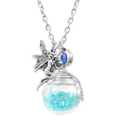 MJARTORIA Rhinestone Wish Glass Bottle with Angle Pendant Women Girls Necklace