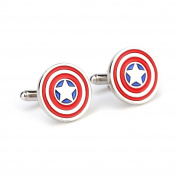 Captain America Shield Logo Cufflinks for Mens Superhero Costume Accessories