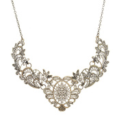 Vincenza Ladies Filigree Paisley Style Gold Chunky Style Statement Chunky Bib Choker Collar Necklace