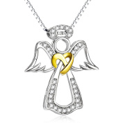 Silver Mountain Sterling Silver Love Knot Guardian Angel Cubic Zirconia Pendant Necklace for Women Girls, 46cm