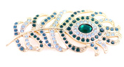 Lizzyoftheflowers - Large vintage retro style crystal peacock eye feather brooch pin, great gift