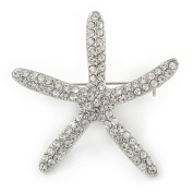 Clear Crystal Starfish Brooch In Silver Tone - 50mm