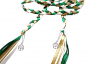 Wedding Hand Fasting / Binding Cord Green Gold and Cream With a Tree of life Charm by Dunns-jewels