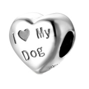 I Love My Dog - Paw Print Heart Charm Bead - Sterling Silver 925
