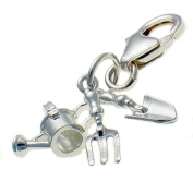 Welded Bliss Sterling 925 Silver Three Part Gardening Clip Charm. Watering Can, Fork & Trowel WBC1426
