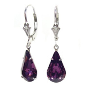 Sparkling Amethyst Teardrop Crystal elements on Sterling Silver Lever back earrings with Gift Box. Made in England. Beautiful jewellery for very special people.