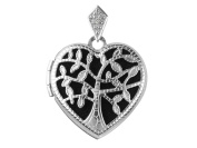 Sterling Silver Locket 17mm Heart Tree Of Life With Cubic Zirconia Set Bail