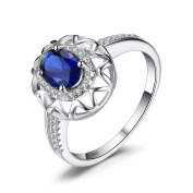 JewelryPalace Unique Design 1.2ct Created Blue Sapphire Ring 925 Sterling Silver