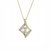Ivy Gems 9ct Yellow Gold Diamond and Pearl Pendant with 46cm Prince of Wales Chain