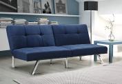 Novogratz Simon Futon Sofa Bed with Chrome Slanted Legs, Mid-Century Modern Design, Rich Blue Linen