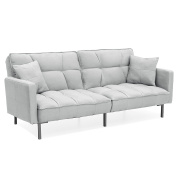Best Choice Products Home Furniture Convertible Linen Tufted Splitback Futon Couch W/ Pillows