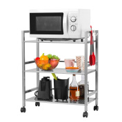 LANGRIA 3-Tier Wire Mesh Rolling Cart for Serving Utility Organisation Trolly Kitchen Island Cart Easy Moving Flexible Wheels, 30kg Weight Capacity, Silver