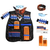 AFALA Tactical Vest kits for Nerf N-Strike Elite Series with 40 Refill Darts + 2 Reload Clips + Face Tube Mask + Protective Glasses