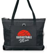 Basketball Mom Tote. Orange and Silver Glitter on Black.