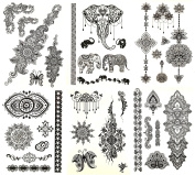 Premium Black Henna Tattoo - 75+ Mehndi & Henna Temporary Tattoos Fake Jewellery Inspired Tattoo Designs - Mandalas, Flowers, Elephants & More