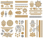 Premium Metallic Henna Tattoos - 75+ Temporary Tattoos Fake Shimmer Jewellery Inspired Henna, Mandala, Mehndi Designs in Gold and Silver – Flowers, Bracelets, Elephants, Arm Bands