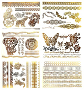Premium Metallic Henna Tattoos - 75+ Temporary Fake Shimmer Jewellery Tattoos Henna, Mandala, Mehndi, Boho Designs in Gold and Silver