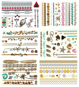 Premium Metallic Colour Tattoos - 75+ Hawaiian Tropical Temporary Tattoos Shimmer Fake Jewellery Tattoos Gold Silver Vibrant Colours - Sea Life Designs - Bracelets, Arm Bands & More