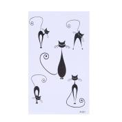 Arich 5 Sheets Men Women Waterproof Temporary Totem Tattoos Cross Cat Body Art Fake Stickers-Cat