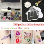 NewKelly Temporary Tattoo Body Painting 24 Colours Glitter Tattoo Powder +Painting Kit Brushes +118 Patterns Tattoo Templates
