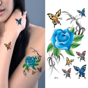 MIMAN 5 Sheets Blue Butterfly Flowers Sexy Body Tattoo Sticker for Women & Girl Fake Tattoo …