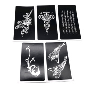 5 Sheets Crafts Adhesive Stencils Template for Henna Tattoo Body Art Painting Glitter Tattoos
