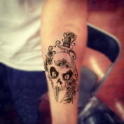 HuangHM Large Fake Tattoos Body Art Make up Removable Waterproof Long Lasting Cool Attractive Diverse Designs Rose Cross Koi Fish Dead Skull Tattoo Temporary Sticker for Men and Women Teens