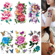 MIMAN 6 Sheets Mix Flowers in Chinese Painting Sexy Body Tattoo Sticker for Women & Girl Fake Tattoo