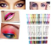 DAXUN 12PCS Waterproof Ultra Bright Colours Durable Glitter Eyeliner Eyeshadow Lip Liner Eye Shadow Pen Cosmetic Makeup Tools