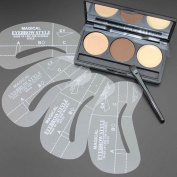 Eyebrow Stencil with Powder - Eyebrows Shaping 3 Shade Eyebrow Wax Palette + 4 Stencils Makeup Kit