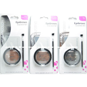 "3 Colours of Kleancolor Eyebrows Essential Kit "" 9 Eyebrow Stencils 3 Powder 3 Brush Kit """