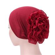 Enjocho Women Cancer Chemo Hat,Lady Flower Muslim Ruffle Beanie Scarf Turban Head Wrap Cap