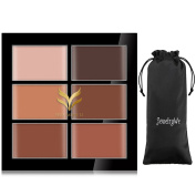 JewelryWe 6 Colours Cosmetics Cream Contour and Highlighting Makeup Kit - Contouring Foundation / Concealer Palette